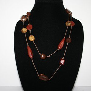 Autumn themed cord necklace with beautiful beads
